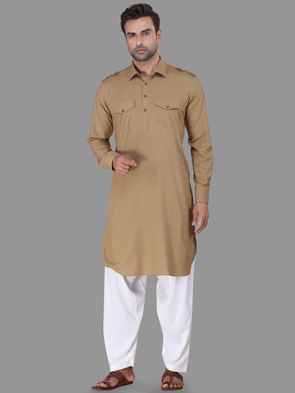 Solid khaki cotton rayon pathani suit?imgeng=w_400