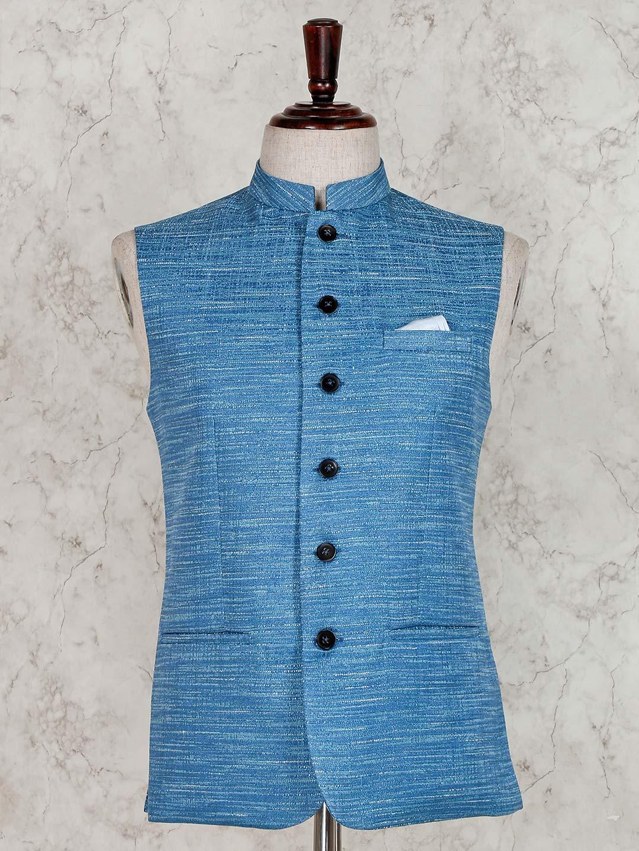 Solid light blue raw silk waistcoat?imgeng=w_400