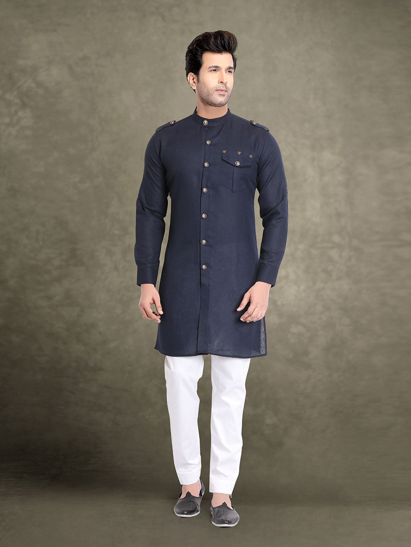 Solid navy cotton festive kurta suit?imgeng=w_400