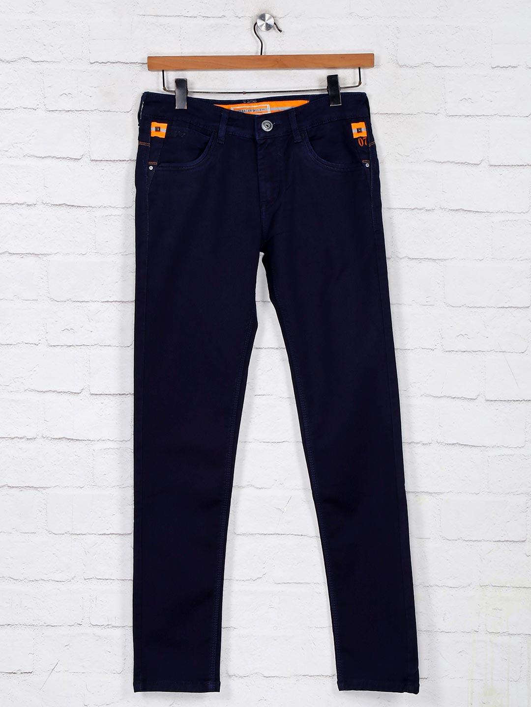 Solid navy slim fit denim jeans?imgeng=w_400