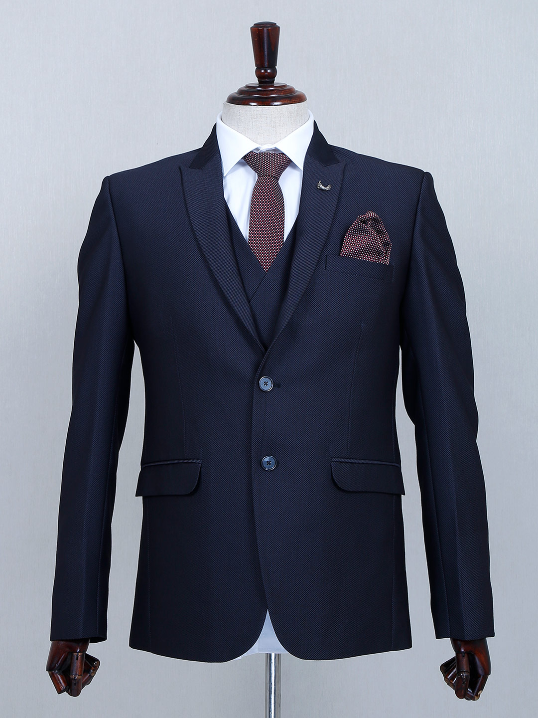 Solid navy two buttoned cotton three piece coat suit?imgeng=w_400