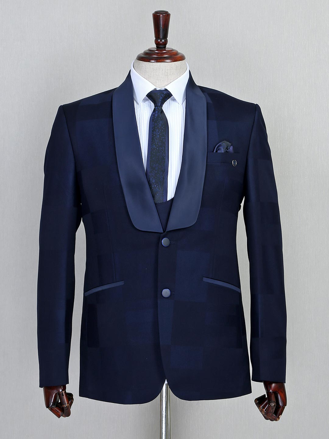 Solid navy two buttoned terry rayon three piece coat suit?imgeng=w_400