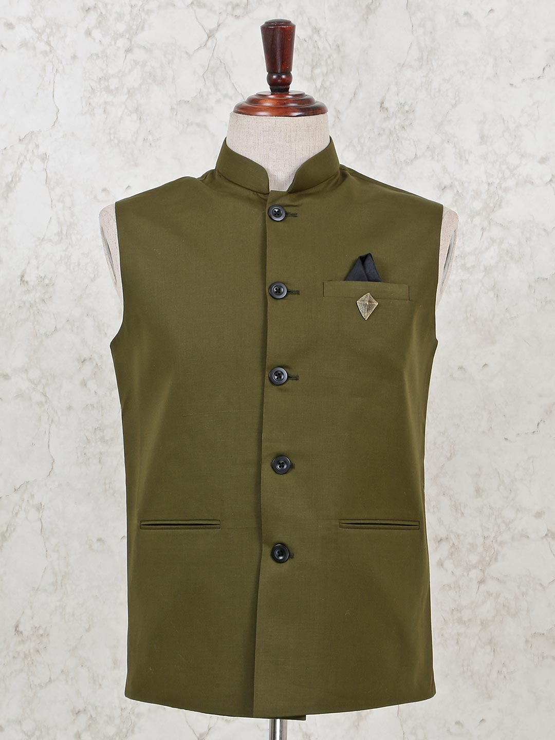 Solid olive cotton mens waistcoat?imgeng=w_400