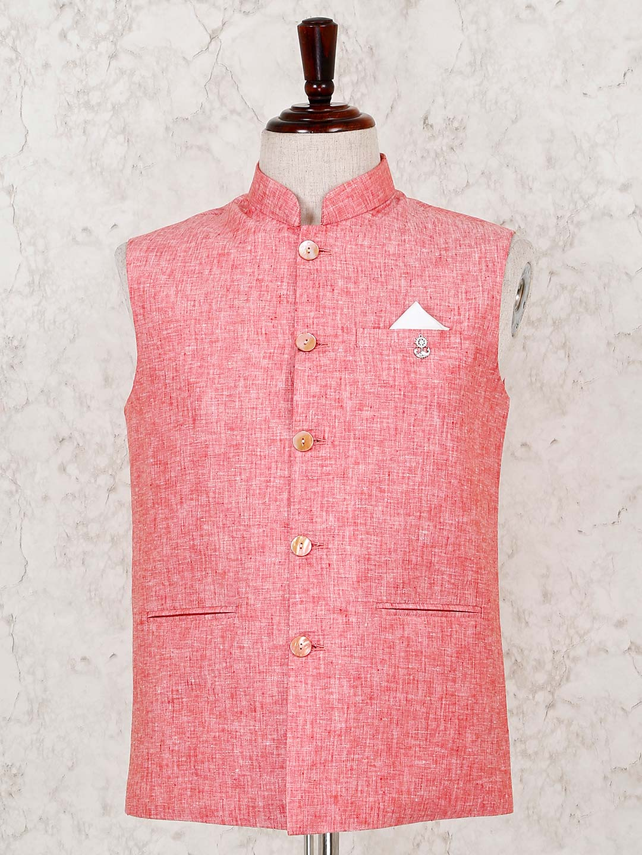 Solid pink cotton linen party wear waistcoat?imgeng=w_400