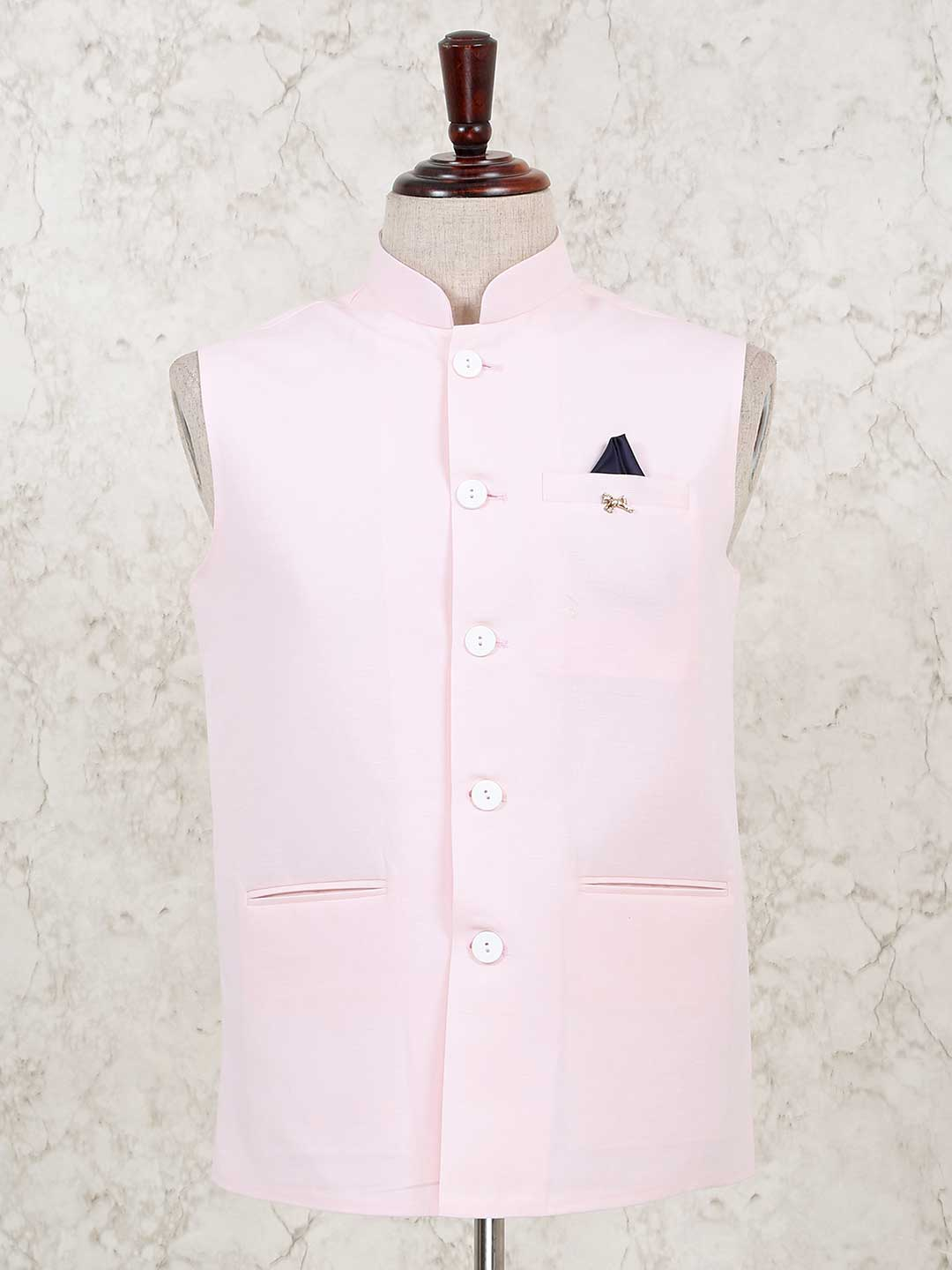 Solid pink cotton silk party waistcoat?imgeng=w_400