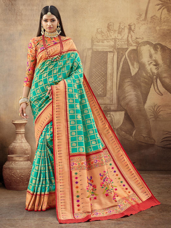 Special aqua banarasi paithani saree for wedding?imgeng=w_400