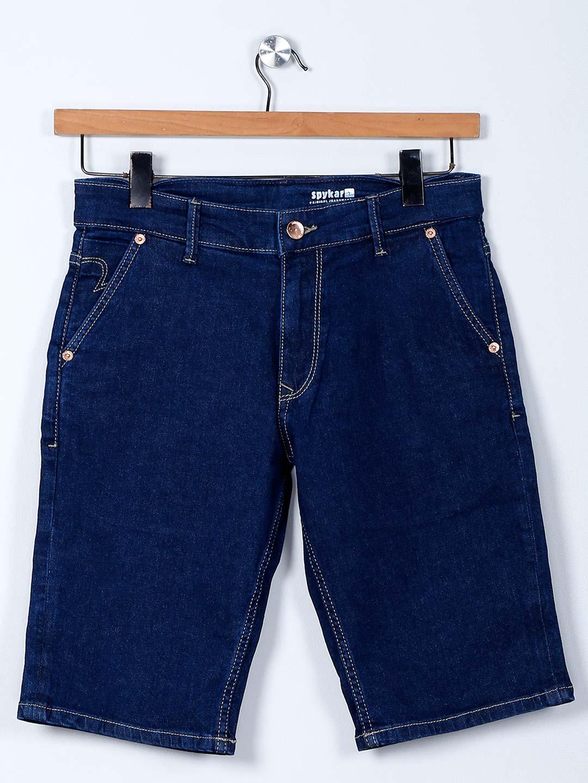 Spykar solid blue denim shorts?imgeng=w_400