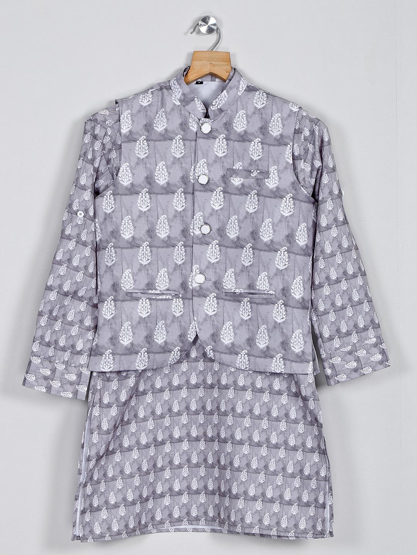 Stand collar grey printed cotton cotton waistcoat set?imgeng=w_400