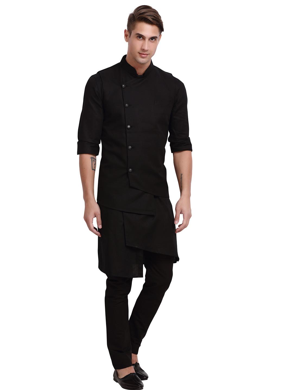 Stand collar solid black hue waistcoat set?imgeng=w_400