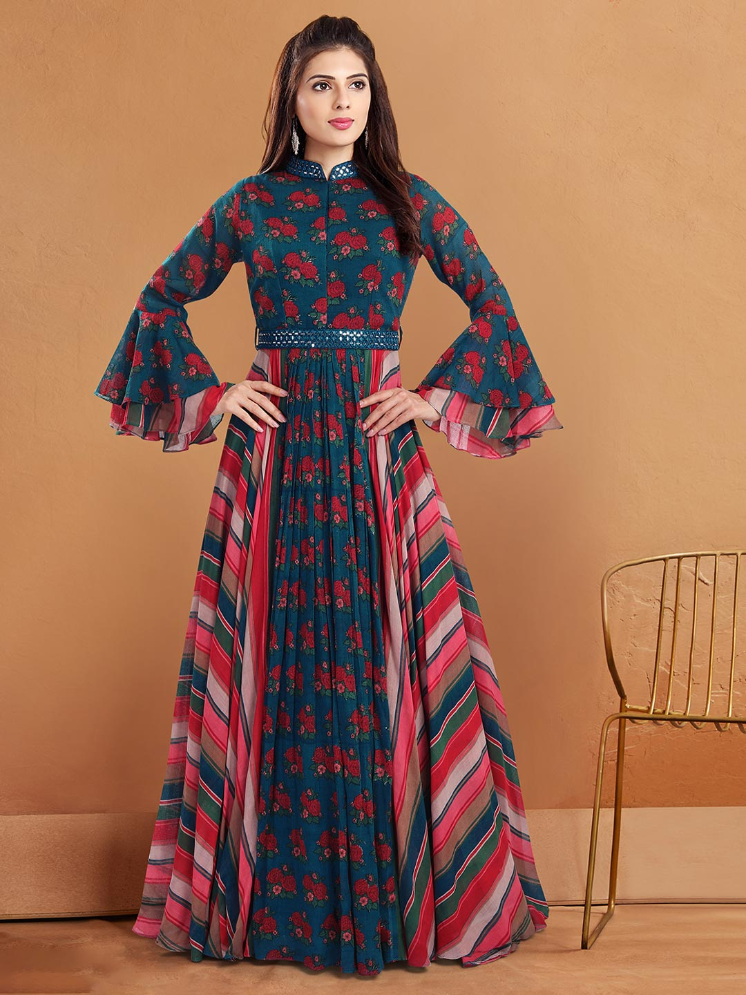 Stunning navy georgette anarakali style suits for festive occasions?imgeng=w_400