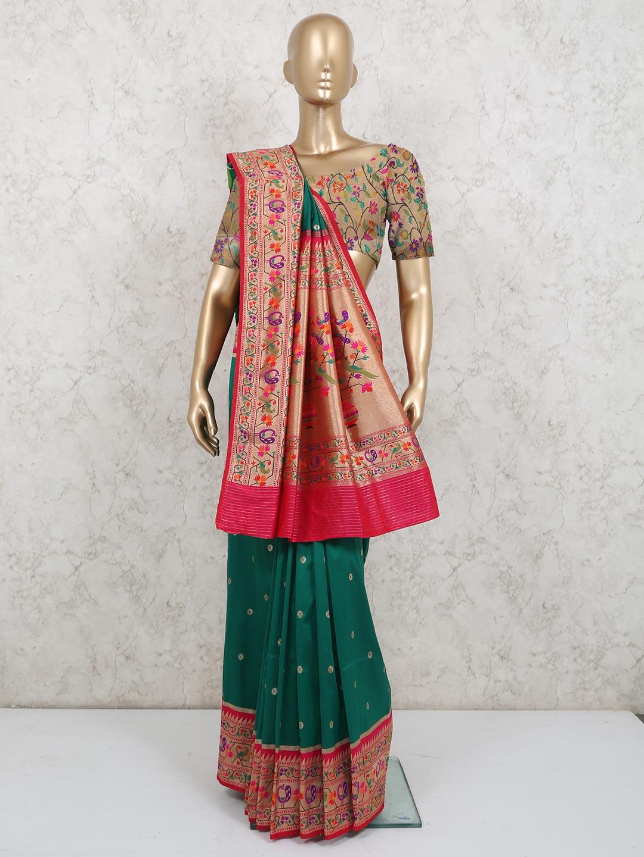 Stylish banarasi silk saree in green color?imgeng=w_400