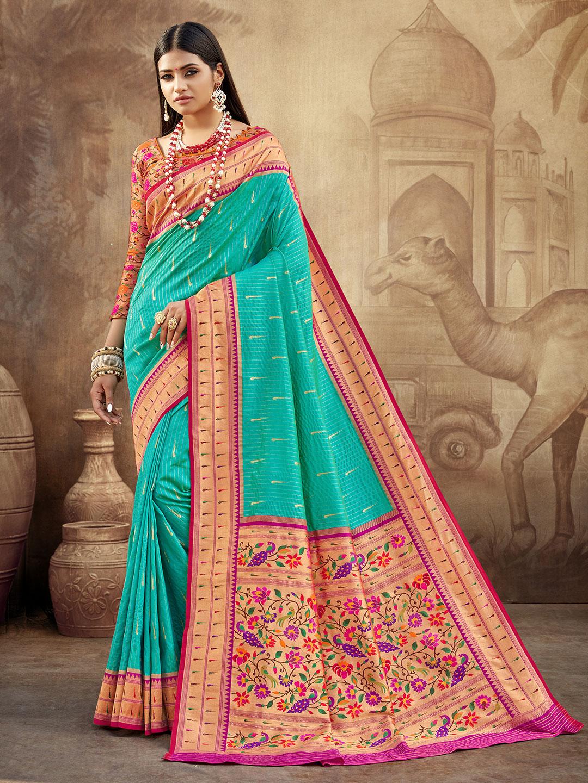 Superb banarasi paithani silk wedding wear saree in maroon?imgeng=w_400