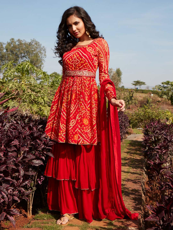 Superb red georgette punjabi style wedding wear sharara suit?imgeng=w_400
