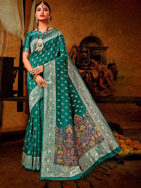 Teal green banarasi silk wedding saree?imgeng=w_400