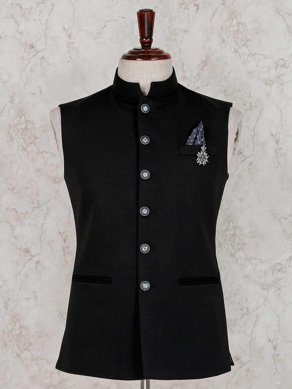 Terry rayon black solid waistcoat?imgeng=w_400