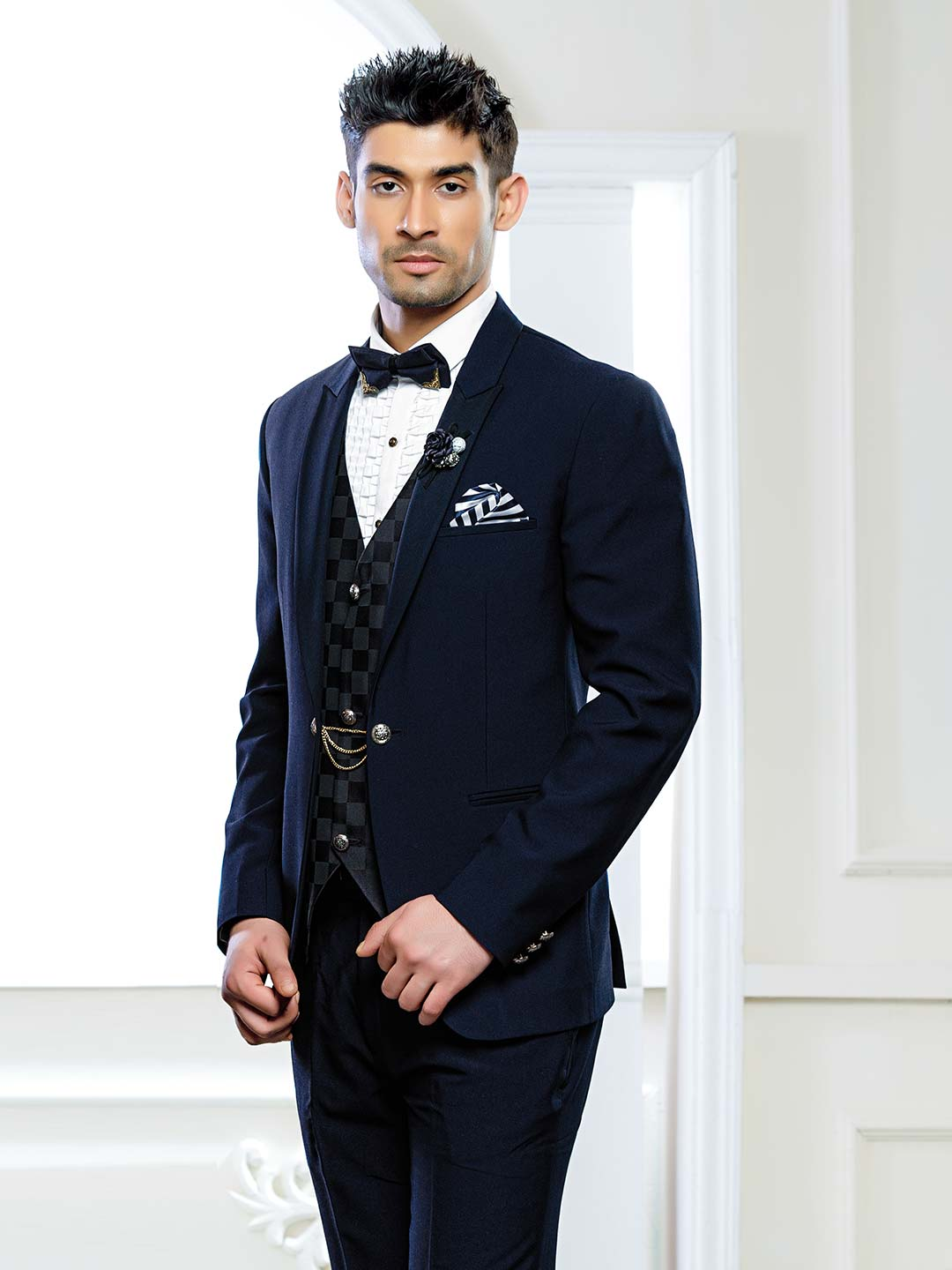 Terry rayon navy hued party wear tuxedo suit?imgeng=w_400