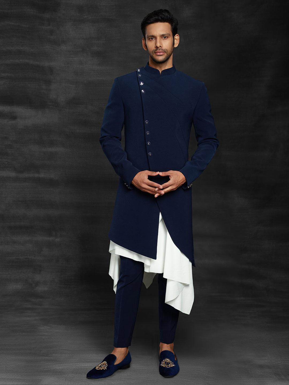 Terry rayon royal blue indo western wedding wear?imgeng=w_400