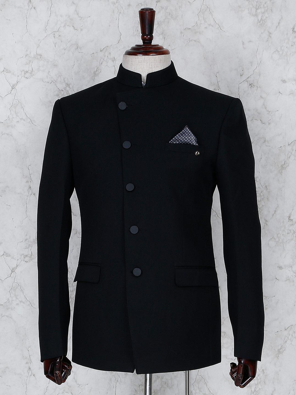 Terry rayon solid black jodhpuri blazer?imgeng=w_400