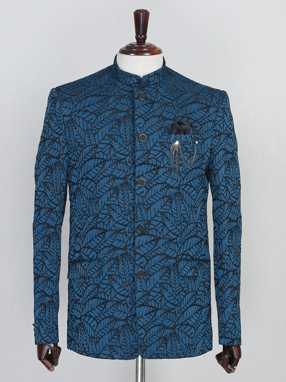 Textured blue terry rayon jodhouri suit?imgeng=w_400