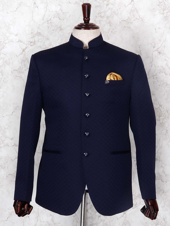 Textured navy hued jodhpuri blazer?imgeng=w_400