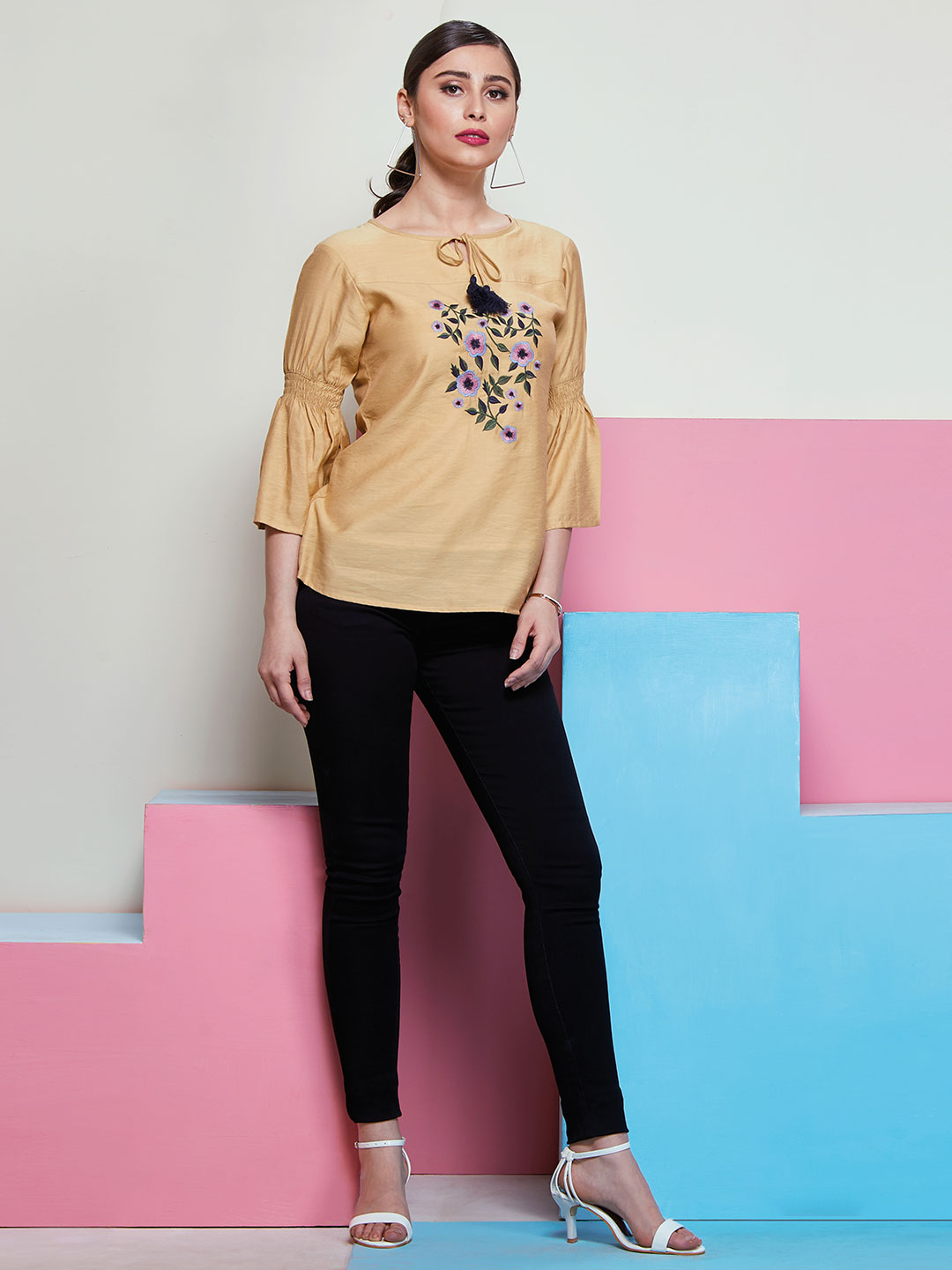 Trendy Beige top with floral embroidery ?imgeng=w_400