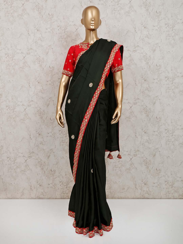 Trendy black satin party wear saree?imgeng=w_400