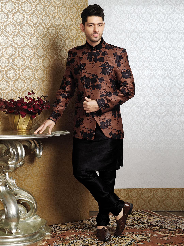 Trendy brown raw silk waistcoat set?imgeng=w_400