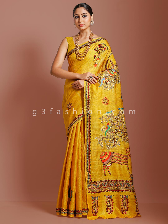 Khadi tussar silk gold saree in wedding occasion?imgeng=w_400