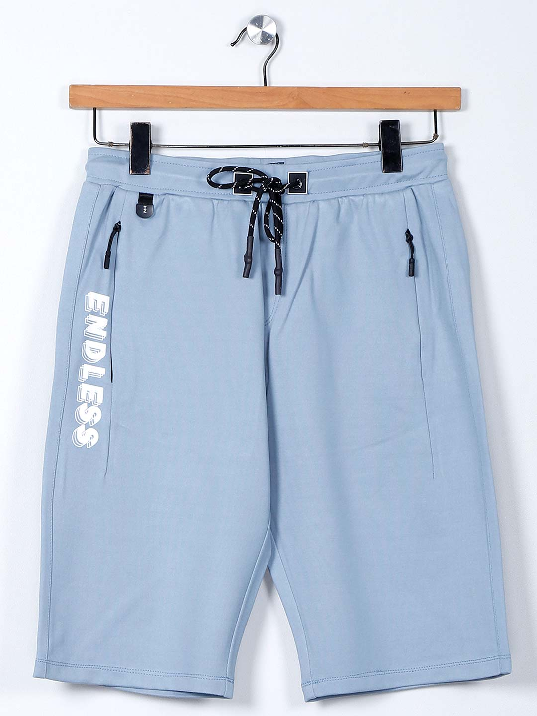 TYZ solid blue cotton slim fit shorts?imgeng=w_400