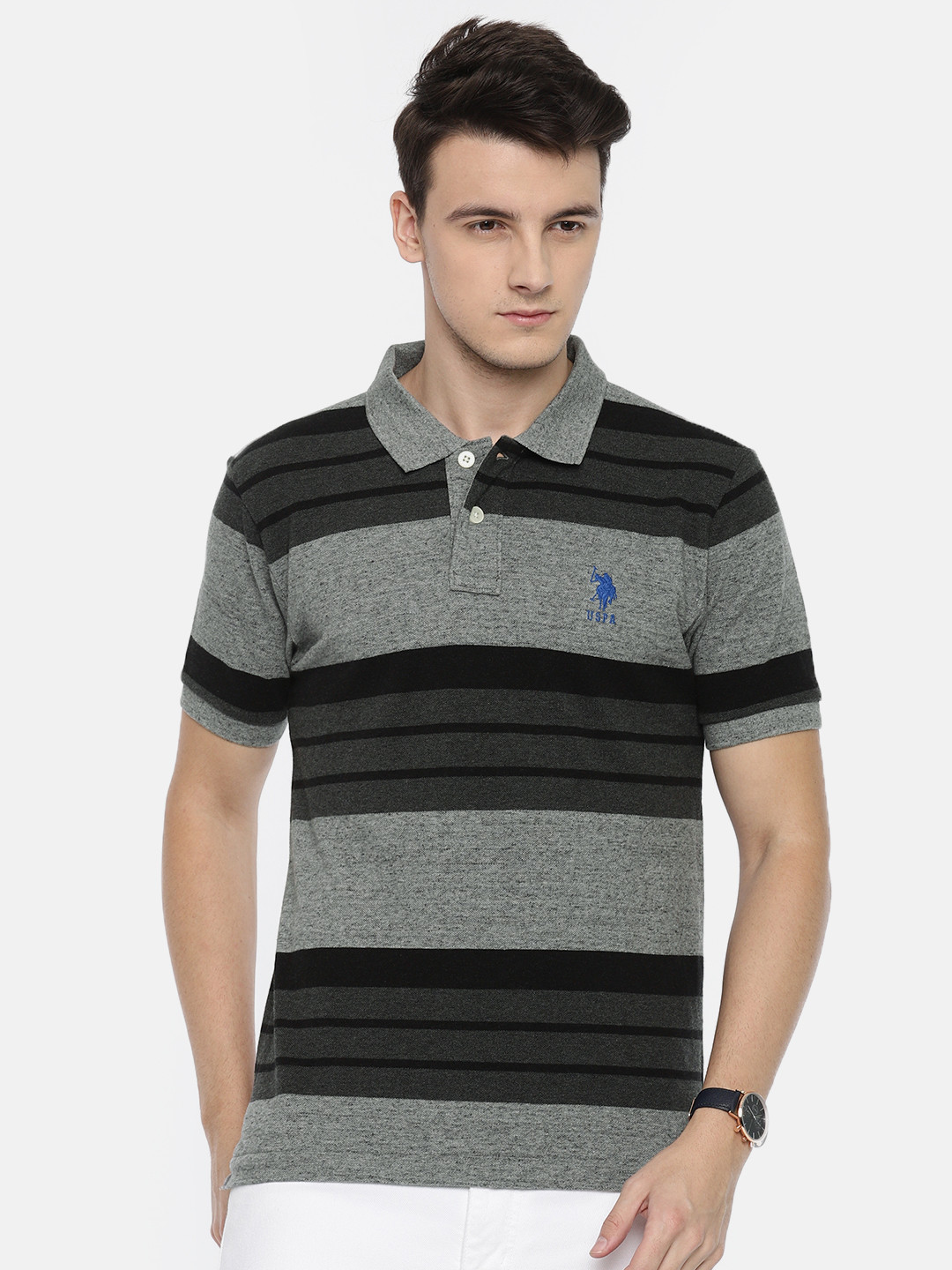 U S Polo black and grey casual t-shirt?imgeng=w_400