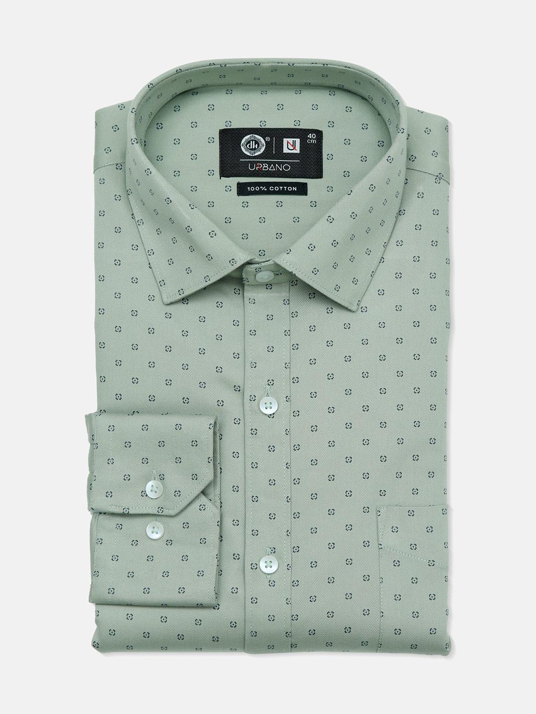 Urbano printed cotton pista green party wear shirt?imgeng=w_400