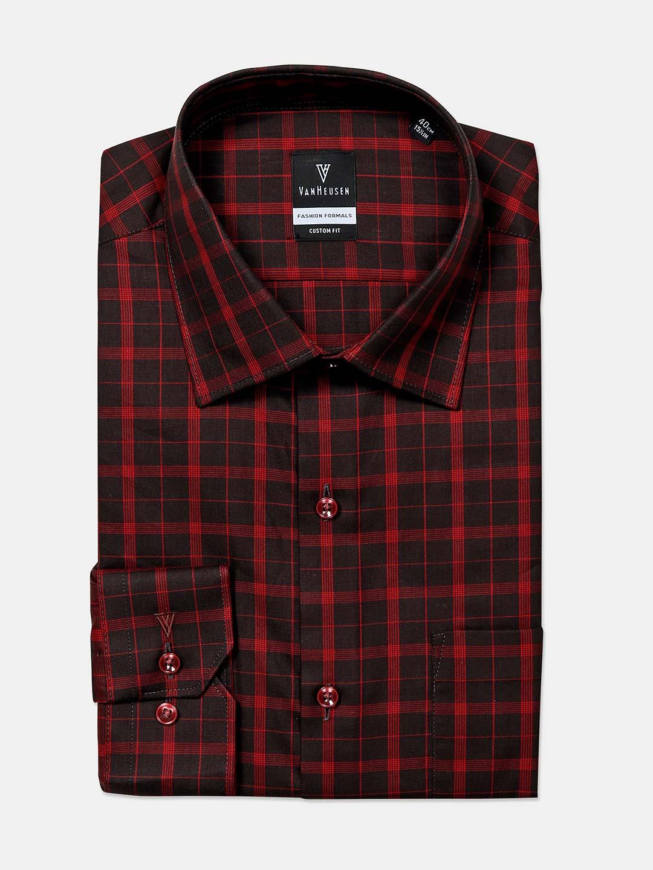 Van Heusen black checks cotton mens shirt?imgeng=w_400