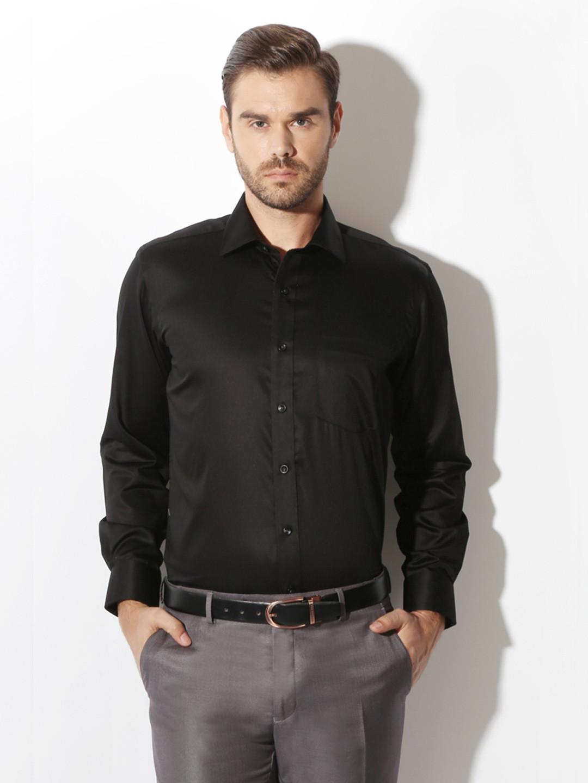 Van Heusen black solid formal shirt?imgeng=w_400