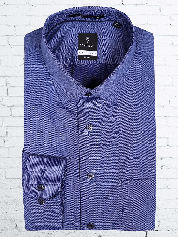 Van Heusen  blue cotton formal shirt?imgeng=w_400