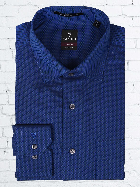 Van Heusen navy color solid shirt?imgeng=w_400
