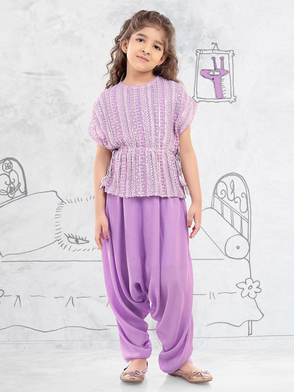 Violet party wear peplum dhoti suit in georgette?imgeng=w_400