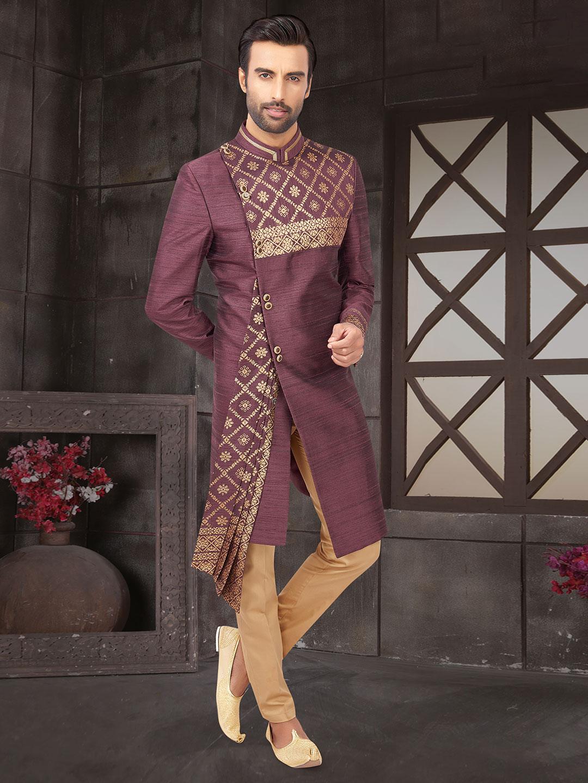 Violet raw silk indo western for men?imgeng=w_400