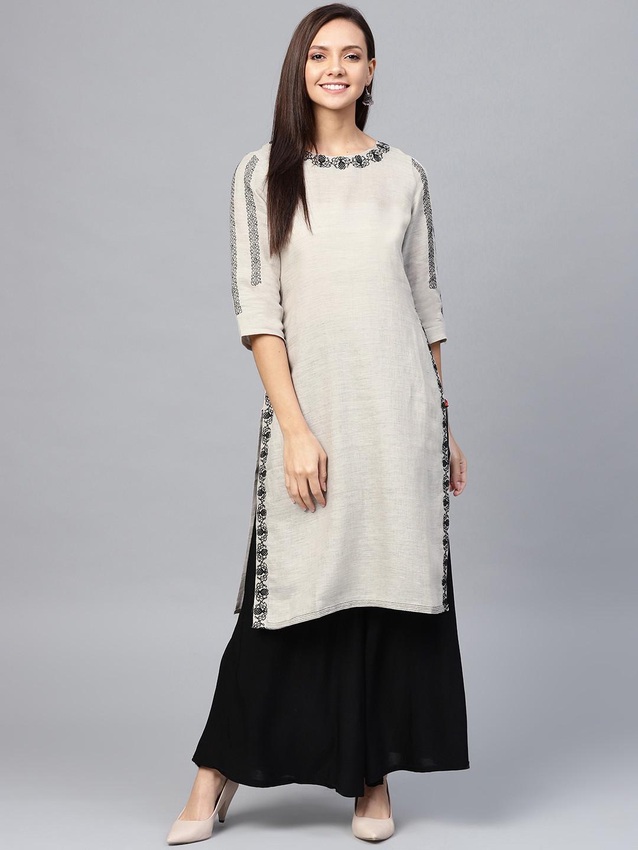 W beige hue round neck cotton kurti?imgeng=w_400
