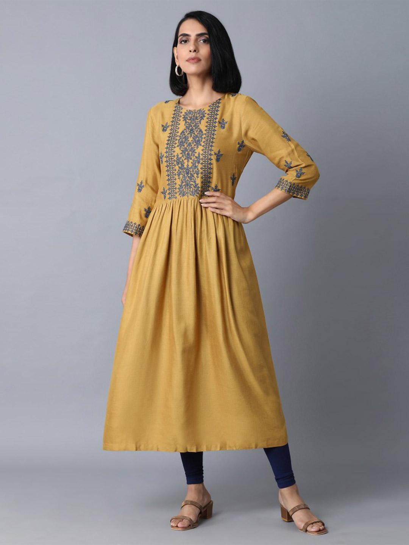 W mustard yellow kurti design in cotton?imgeng=w_400