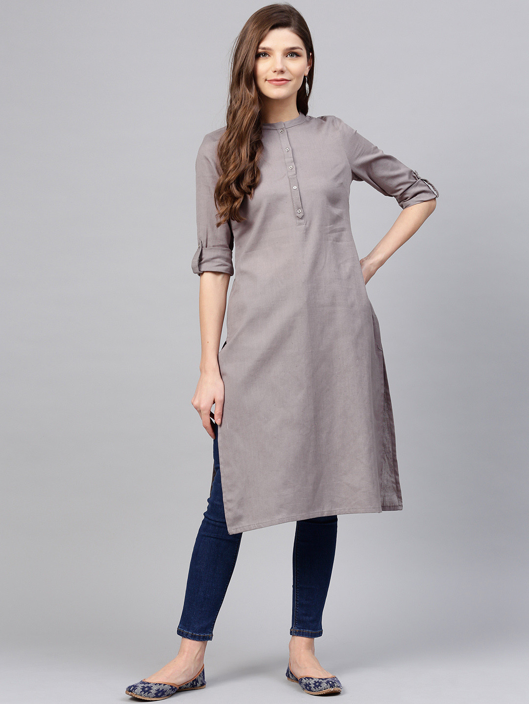 W plain grey colored cotton kurti?imgeng=w_400