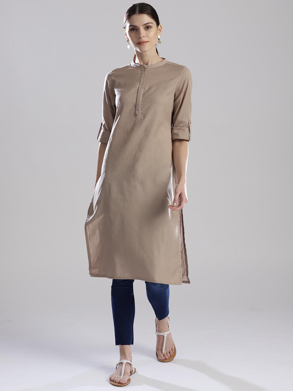 W simple cotton fabric beige hue kurti?imgeng=w_400