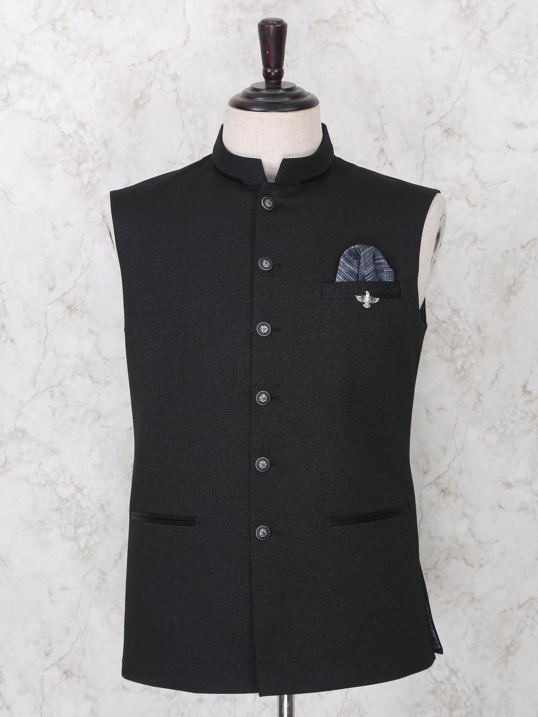 Waistcoat in solid black terry rayon?imgeng=w_400