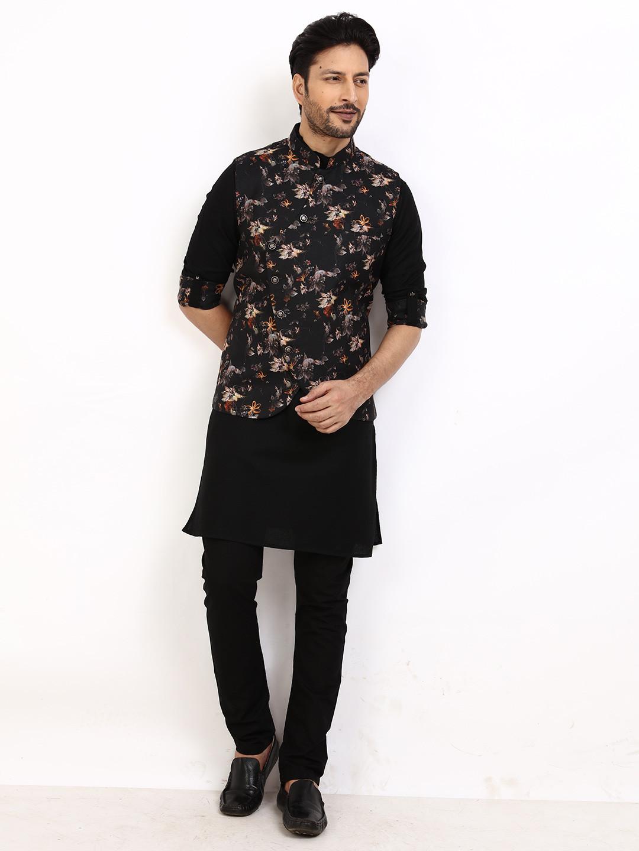 Waistcoat set for mens in printed black?imgeng=w_400
