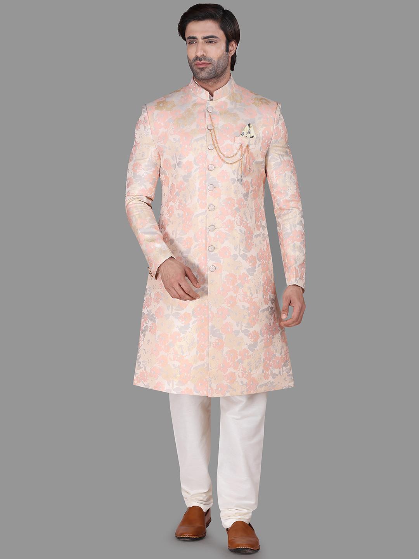Weaving style peach wedding wear silk indo western?imgeng=w_400