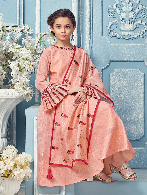 Wedding funtion peach hue cotton silk anarkali suit?imgeng=w_400