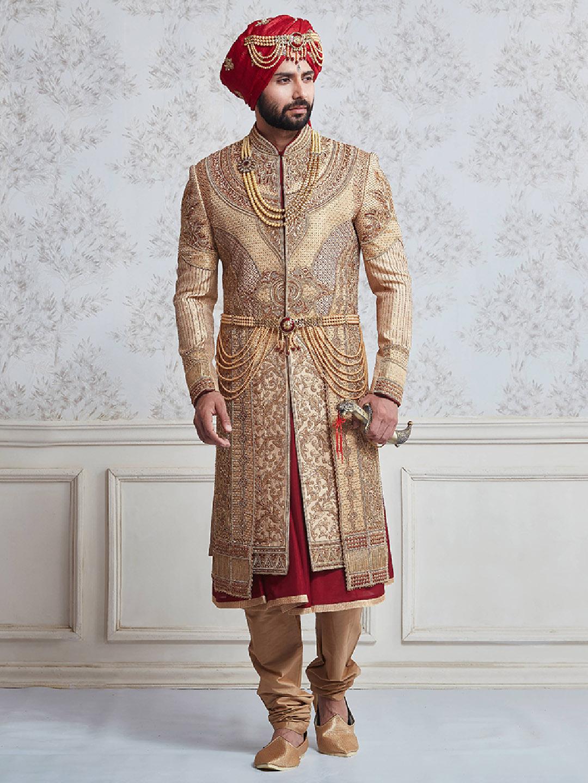 Wedding wear beige and maroon sherwani?imgeng=w_400
