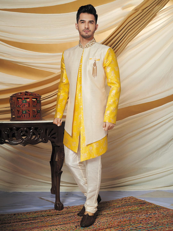 Wedding wear beige and yellow raw silk indo western?imgeng=w_400