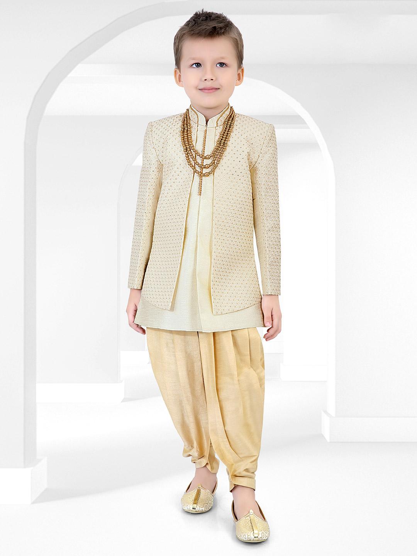 Wedding wear beige cotton silk indo western?imgeng=w_400