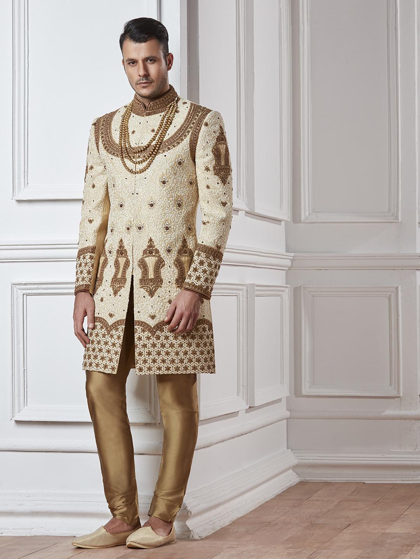 Wedding wear beige gold indo western?imgeng=w_400