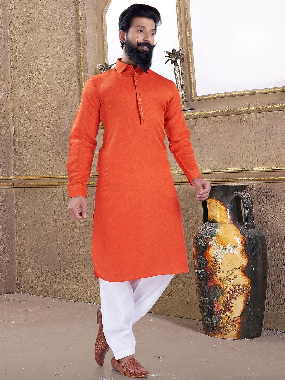Wedding wear bright orange pathani suit?imgeng=w_400